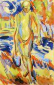 """""""Weiblicher Akt mit Tasche"""" - Hans Breinlinger (1888-1963) Aquarell auf Karton, unten rechts"""