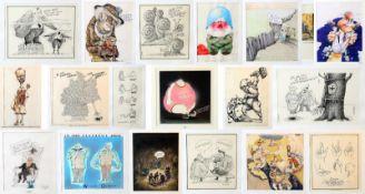 Karikaturensammlung der 1980er / 90er Jahre - 20 Stück Tuschezeichnungen, Aquarelle,