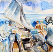 """Menschen am Strand"" - Hans Breinlinger (1888-1963) Aquarell auf Karton, unten links signiert,"