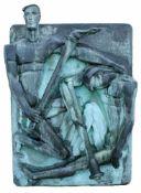 """Monumentale Bronzeplastik """"Die Fackelläufer"""" - Edmund Gätjen (1930-2000) Halbplastisches Relief,"""