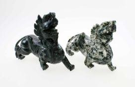 """China - 2 Tempelwächter """"Fu Hunde"""" Marmor, vollplastisch detailliert in der Ausführung, poliertes"""