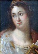 """""""Dame mit Diadem"""" - Portrait - 19. Jahrhundert Öl auf Leinwand, unsigniert, guter Zustand, verträumt"""
