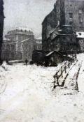 """Kaltnadelradierung """"Verschneite Stadtansicht"""" - Luigi Kasimir (1881-1962) Tituliert """"Februar 1917"""""""
