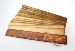 Buddhistisches Gebetsbuch - 19. Jahrhundert Bemalte Bambusdeckel, Rest von Vergoldung, ca. 150