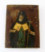 Russische Ikone - 19. Jahrhundert Eitempera auf Holz, feine, polychrome Malerei, Motiv stellt ersten