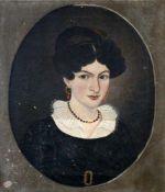 """Biedermeier Gemälde - """"Damenportrait"""" 1827 Öl auf Leinwand, Brustbild einer unbekannten Dame,"""