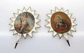 2 Altaraufsätze - 18. Jahrhundert Aus Metall geschnittener Strahlenkranz, vorder- und rückseitig