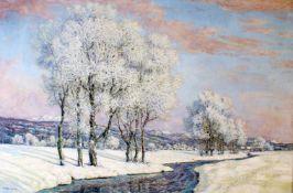 """""""Winterlandschaft am Fluss"""" - Robert Büchtger (1862-1951) Öl auf Leinwand, ansprechendes Flusstal,"""