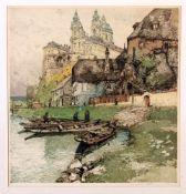 """Colorierte Radierung """"Stift Melk Österreich"""" - Luigi Kasimir (1881-1962) Mehrere Fischerboote am"""