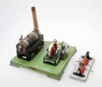 Dampfmaschine Fleischmann Liegender Zylinder auf Blechrechaud, Schwungrad, Fliehkraftregler,