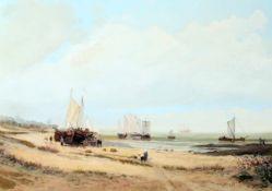 """""""Holländische Wattsegler am Strand"""" - Wolfgang Hütten (*1922) Öl auf Leinwand. Am Strand Boote und"""