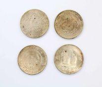 4 chinesische Silbermünzen China-Dollar 1934, Lin Gwo Ming 110; Dragon-Dollar 34 year of Kuang