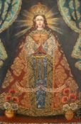 """""""Virgin de Amancaes"""" - Peruanische Volkskunst Öl auf Leinwand, unten links spanisch bez., im reich"""