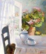 """""""Blumenstillleben"""" - Wienand Klaes Hansen (*1940) Öl auf Leinwand, Blumenstillleben am"""