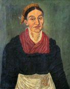 """Biedermeier Gemälde - """"Damenportrait"""" um 1830 Öl auf Leinwand, Darstellung einer Dame mit Kropfkette"""