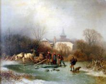 """""""Fischen im Winter"""" - Louis Claude Mallebranche (1790-1838) Öl auf Platte, Winterlandschaft,"""