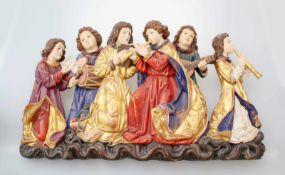 Große Holzfigur - musizierende Figurengruppe Polychrom- und goldstaffiert, feine Schnitzerei, alle