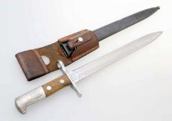 Schweiz - Bajonett Schmidt Rubin M1918/11/31 Blanke, gegratete, zweischneidige Klinge, terzseitig