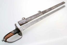 Österreich - Pallasch der Kavallerie 1801/1808 Gerade, zum Ort zweischneidige Rückenklinge, breit