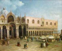 """""""Venezianischer Palast"""" - unleserlich signiert Öl auf Leinwand, feine detaillierte Malerei,"""