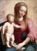 """""""Maria mit Kind"""" - Barockgemälde - 18. Jahrhundert Öl auf Leinwand, unsigniert, früheres Krakelee"""
