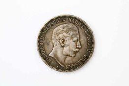 """Silbermünze Wilhelm II. 5 Mark - Deutsches Reich Prägestätte """"A"""", 1903, ss. Gewicht: 27,8 g."""
