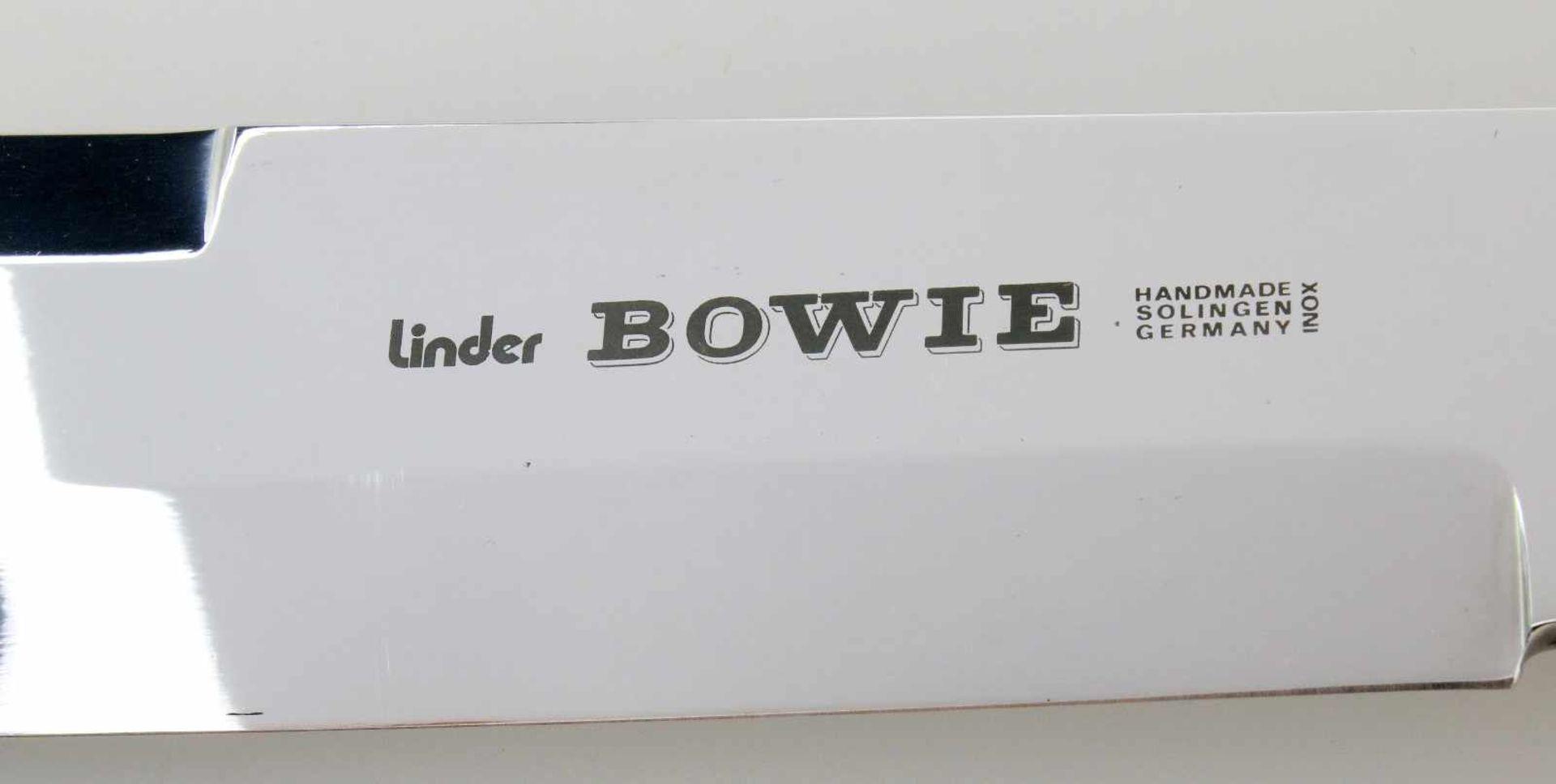 """Bowiemesser von Linder Spiegelblanke Edelstahlklinge, linksseitig bez. """"Linder Bowie Handmade - Bild 4 aus 4"""