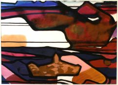 """""""Abstrakte Landschaft"""" - Horst de Marées (1896-1988) Tempera auf Karton, polychrome und"""