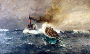 """""""Seenotrettung"""" - Leonhard Sandrock (1867-1945) Öl auf Leinwand, unten links signiert."""