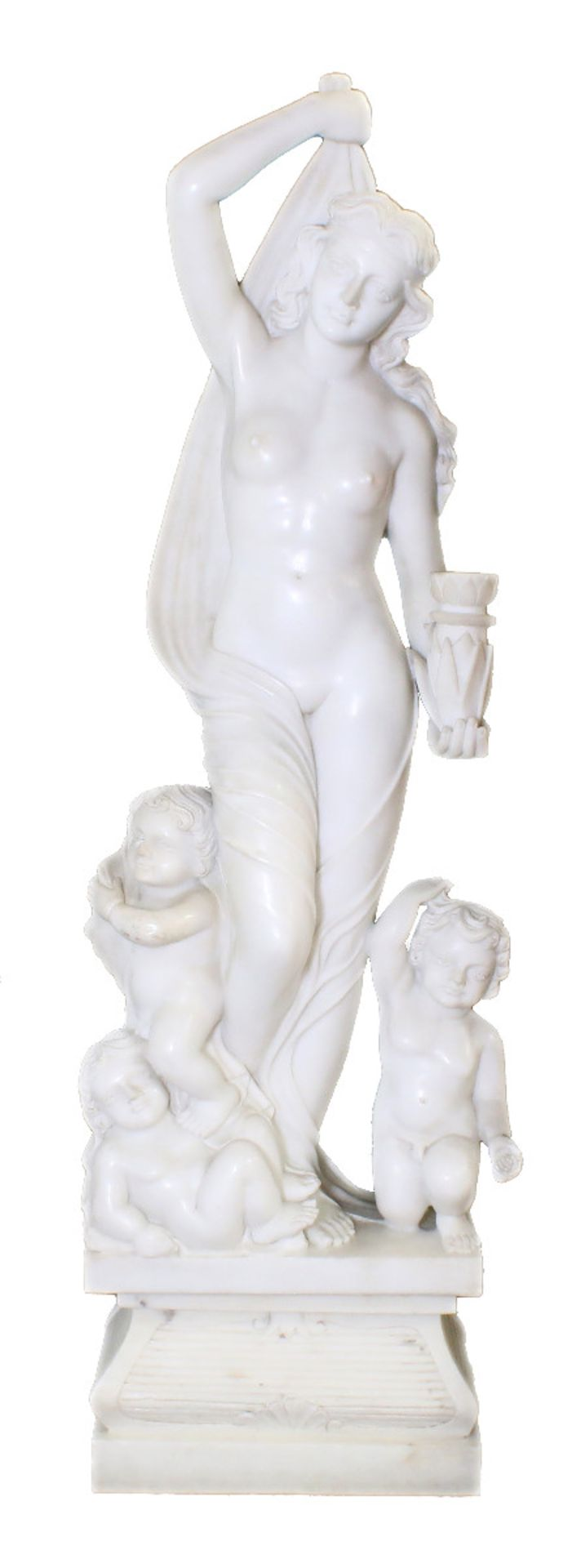 """Große Marmorfigur - """"Allegorie des Sommers"""" Weiblicher Halbakt aus weißem Carrara Marmor. In der"""
