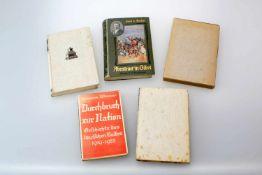 Konvolut Bücher 1904 - 1940 1.) Abenteuer in Tibet, S. von Hedin 1904, 2.) Durchbruch zur Nation, H.