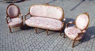 3-teilige Polstergarnitur im Rokokostil (rosa Muster) 2 Sessel und ein Sofa mit beschnitzten,