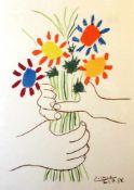 """""""Hände mit Blumenstrauß"""" - Pablo Picasso (1881-1973) Farblithografie auf Büttenpapier. Das Kunstwerk"""