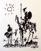 """""""Don Quijote"""" - Pablo Picasso (1881-1973) Lithografie auf Büttenpapier, stilisierte Figur des Don"""
