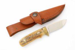 Jagdmesser von Linder Solingen Blanke Klinge, linksseitig Firmierung, Messingzwinge, Hirschhorn-