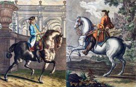 """2 colorierte Kupferstiche - Johann Elias Ridinger (1698-1797) """"Der Galopp gerad' aus"""" und """"Die"""