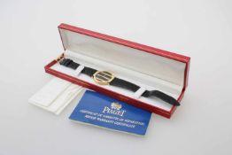 Armbanduhr Piaget Polo - Gelbgold Quarzwerk, Gehäuse GG 750, Ø 31 mm, schwarzes Zifferblatt,