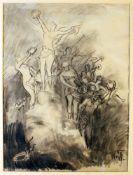 """""""Siegesdenkmal"""" - Wilhelm Trübner (1851-1917) Kohlezeichnung auf Papier, am Rand rechts oben und"""