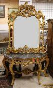 Barockspiegel mit Konsoltisch Imponierender Spiegel im Stil des Barock, Tisch und Spiegelrahmen
