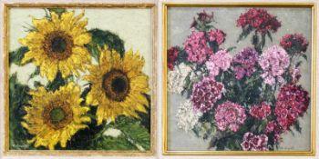 2 Gemälde Blumenstillleben - Robert Koepke (1893-1968) Öl auf Platte, Sonnenblumen und Hortensien,
