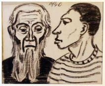 """""""Jugend und Alter"""" - Kurt Scheele (1905-1944) Kohlezeichnung auf Papier, oben mittig signiert und"""
