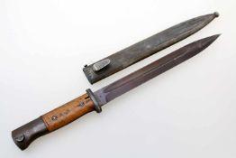 3. Reich - Seitengewehr M1884/98 3. Modell Gekehlte Rückenklinge, Herst. 42 asw (Fa. E. + F. Hörster