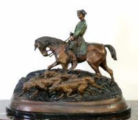 """Bronzeskulptur """"Veneur zu Pferde mit der Meute"""" nach Pierre-Jules Mène (1810-1879) Die Skulptur"""
