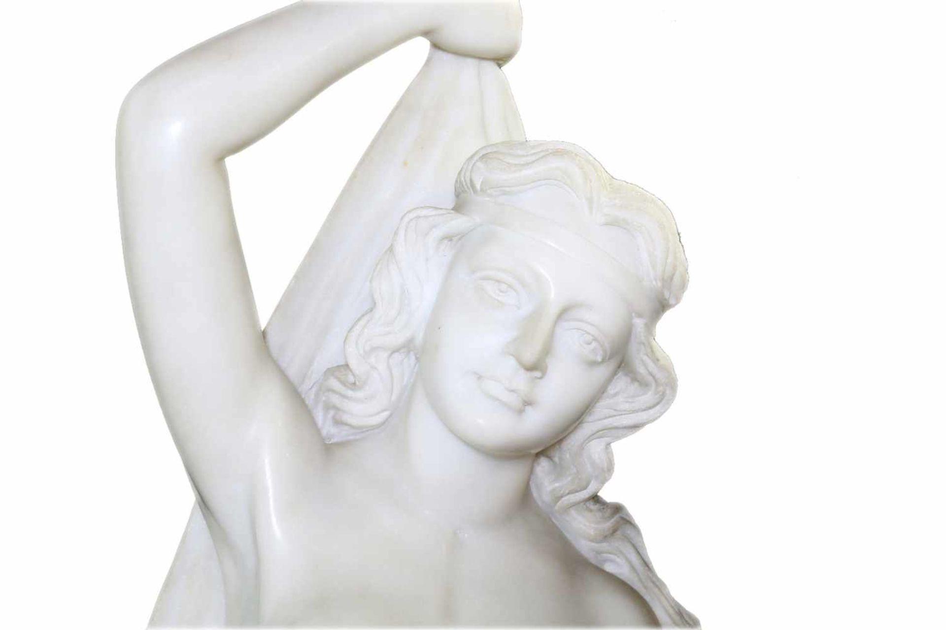 """Große Marmorfigur - """"Allegorie des Sommers"""" Weiblicher Halbakt aus weißem Carrara Marmor. In der - Bild 5 aus 5"""