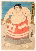 Japanischer Holzschnitt - Utagawa Kunisada (1786 - 1865) Farbholzschnitt auf Papier, Sumo-Ringer,