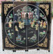 Chinesischer Paravent mit Jadeschnitzereien besetzt Ebonisiertes Holz, 4-teilig, polychrom