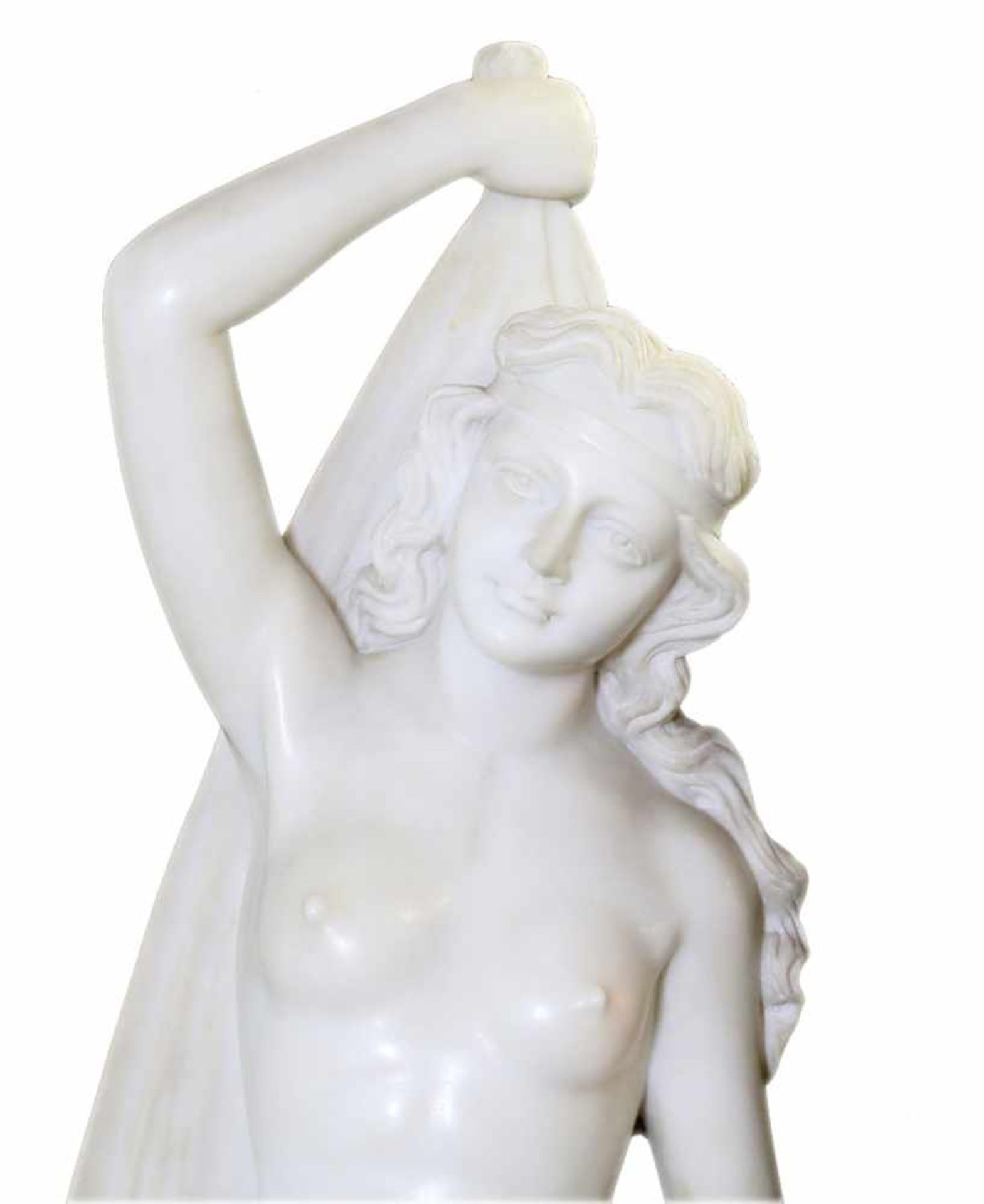 """Große Marmorfigur - """"Allegorie des Sommers"""" Weiblicher Halbakt aus weißem Carrara Marmor. In der - Bild 2 aus 5"""