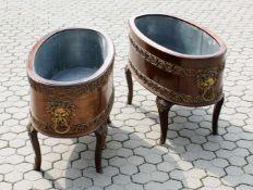 2 Jardinieren im napoleonischen Stil Aus Mahagoni gefertigt, innen mit verzinktem Blech