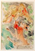 """""""Der Teufel und die Jungfrau"""" - Kurt Scheele (1905-1944) Aquarell und Tusche auf Papier, unten links"""
