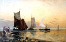 """""""Boote am Hafen"""" - Heinrich Petersen-Angeln (1850-1906) Öl auf Leinwand, unten rechts signiert,"""